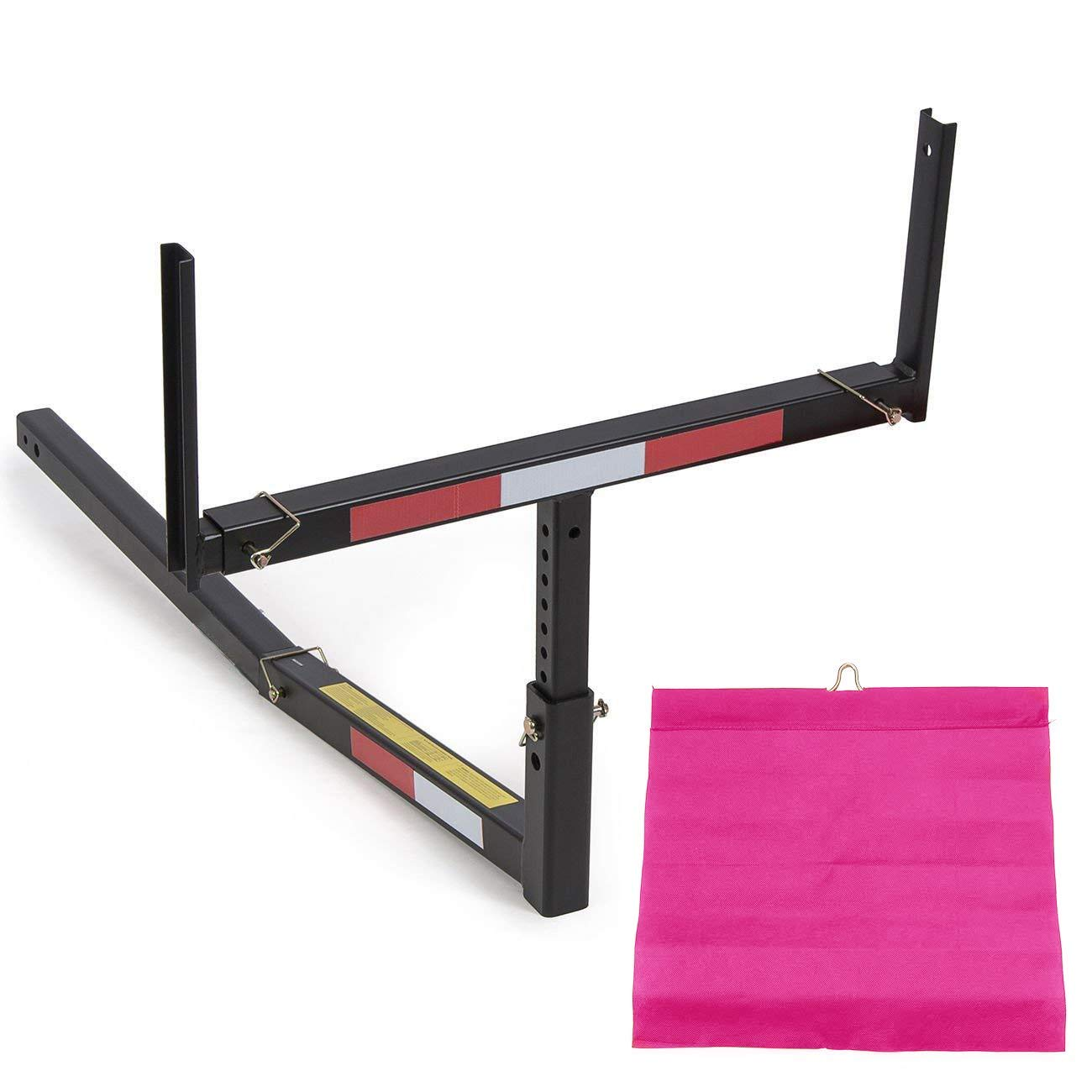 """Jeremywell Adjustable Steel Pick Up Truck Bed Hitch Extender Extension Rack with Flag for Boat Lumber Long Loads Canoe Ladder Fits 2"""" Hitches 750 Lbs Weight Capacity"""