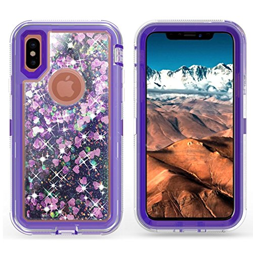 iPhone X Case/iPhone Xs Case,Blingy's Ultra Protective Shockproof Dual-Layered Flowing Liquid Glitter Style TPU+PC Hard Case for iPhone X and iPhone Xs (Purple)