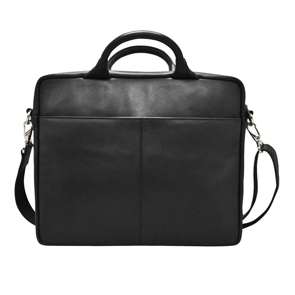 ili 6116 Leather briefcase laptop carrier with adjustable shoulder strap Black