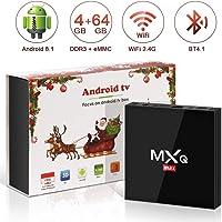 Android 8.1 TV Box 4GB+64GB superpow MXQ MAX Android Box Quad-Core mit BT4.1 3D/ 4k / 2.4Ghz WiFi / 100 LAN / H.265, HDMI Smart TV Box