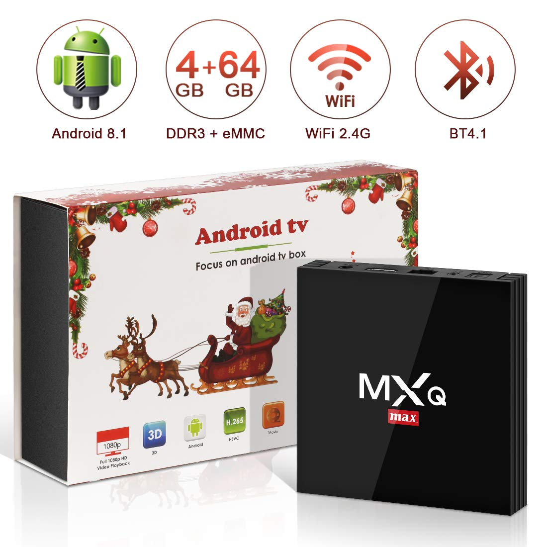 Android 8.1 TV Box, Superpow Smart TV Box Quad Core 4GB RAM+64GB ROM, BT 4.1, 4K*2K UHD H.265, HDMI, USB*3, WiFi Media Player, Android Set-Top Box