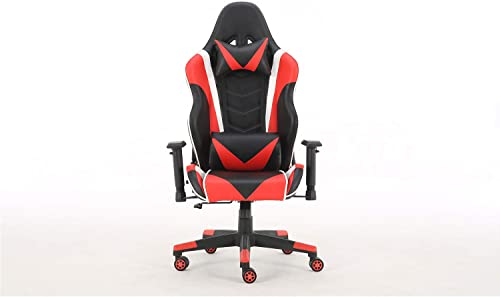 Gaming Chair Office Chair Ergonomic Reclining Padded armrests Height Adjustable with Headrest and Lumbar Pillow E-Sports Chair Red