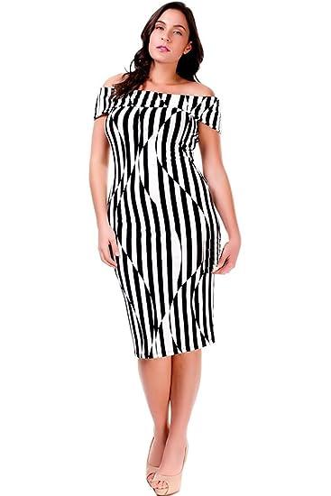 Nyteez Womens Plus Size Black White Striped Off Shoulder Dress
