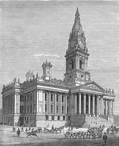 BOLTON: Royal visit to-new Town Hall, antique print, 1873 Antiqua Print Gallery