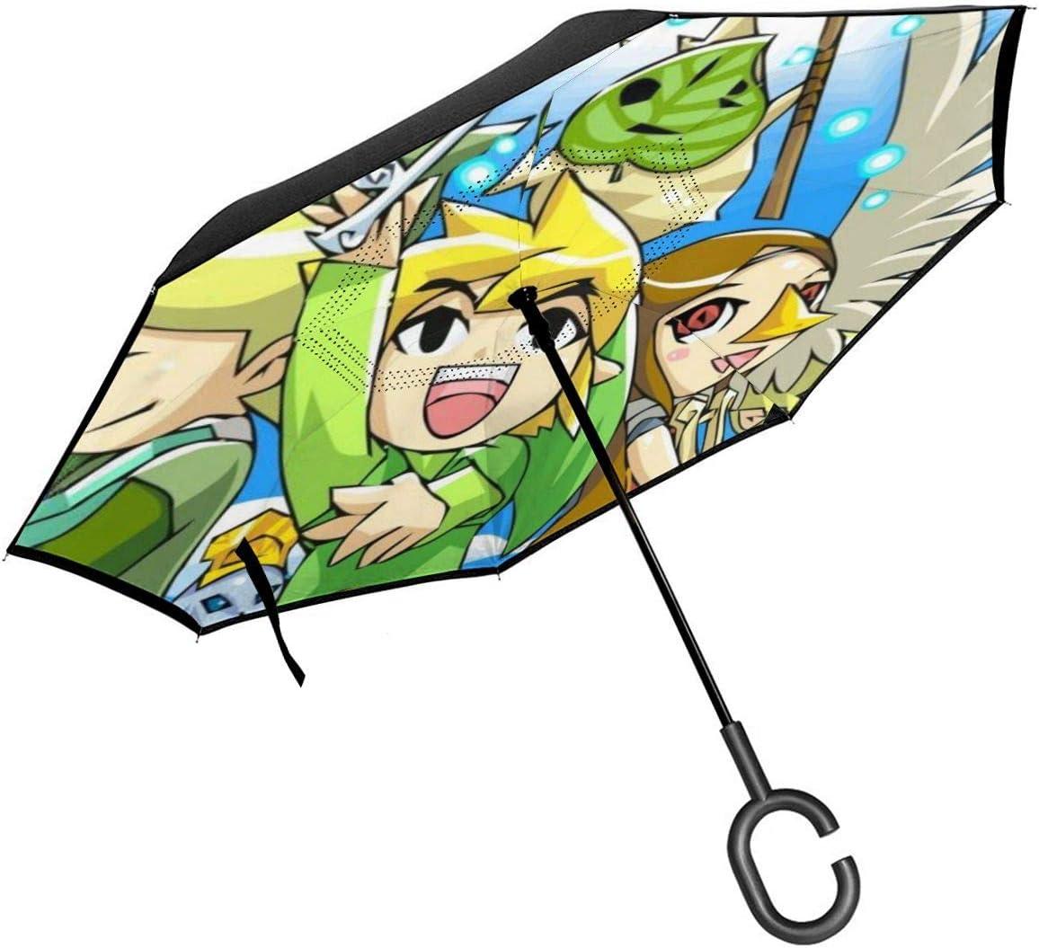 Game The Legend Of Zelda Car Reverse Umbrella With C-Shaped Handle UV Protection Inverted Folding Umbrellas Windproof And Rainproof Double Folding Inverted Umbrella