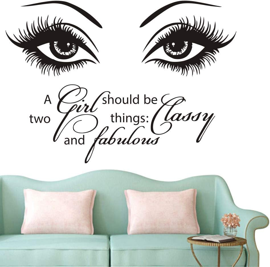 Beauty Eyes Wall Decals Beauty Salon Girl Eyes Quote A Girl Shoud Be Two Things Classy and Fabulous Art Vinyl Bedroom Decoration Make Up Vinyl Stickers NY-380 (57X80CM, Black)