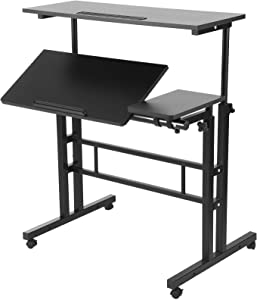 Houssem Mobile Standing Desk, Height Adjustable Computer Stand Up Desk, Laptop Rolling Table Cart Workstation Home Office Desk with Locking Wheels for Sitting or Standing