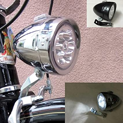 Classical Black Vintage Bicycle Bike 3 LED Light Headlight Front Retro Head Lamp