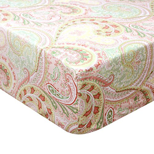 Brandream Crib Sheets- Paisley Baby Bedding 100% Egyptian Cotton Crib Bedding Ultra Soft Baby Bed Sheet, Pink