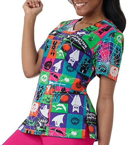 Zoe And Chloe Women's V-Neck Halloween Print Scrub Top Large (Halloween Print Scrub Tops)