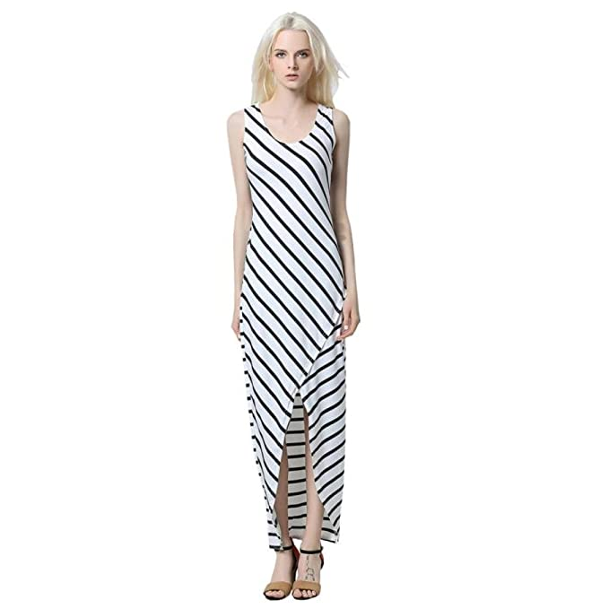 Overdose AlgodóN Mujeres Casual Sundress Stripes Sin Mangas Suelto Natural Long Beach Dress (S,