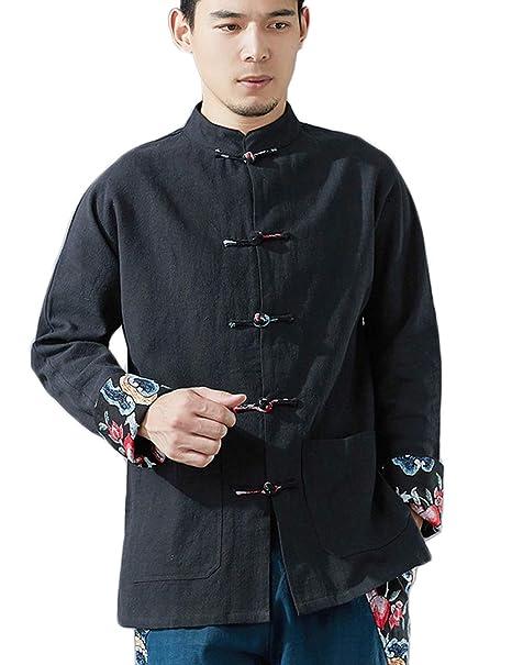 Amazon.com: lzjn Casual botón abajo camisas lino Hombres ...