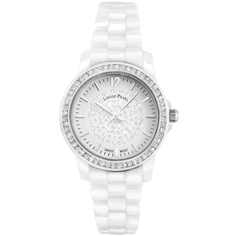 Louise Pearl – Damen-Armbanduhr Weißer Keramik Swarovski Louise Pearl