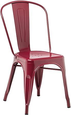 Image ofSKLUM Pack 4 Sillas LIX Rojo Burdeos Estilo Industrial Acabado Brillante