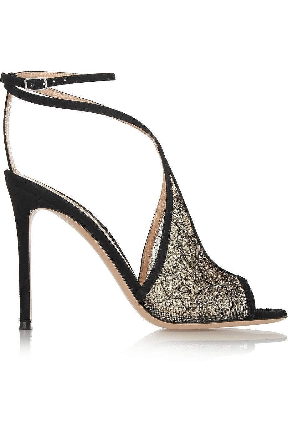 Black LIXUDITAN European Tide Women's shoes Black lace Back high Heel Sandals Fish Mouth Buckle mesh Sandals Fashion Sexy Women's shoes JDF®