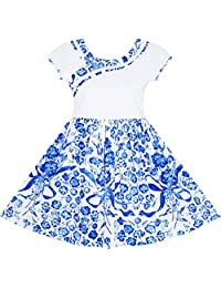 Sunny Fashion Girls Dress Blue White Porcelain Floral Printed Pageant Holiday