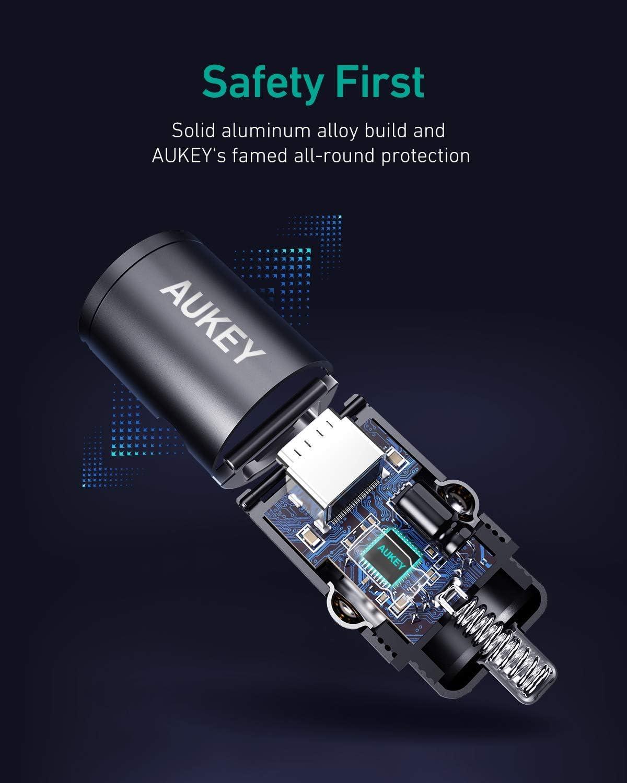 AUKEY Caricabatteria da Auto Mini accendisigari a 2 Porte Caricabatteria da Auto USB C con Power Delivery per MacBook PRO//Air 2018 iPhone XS Max//XR//XS//X iPad PRO 2018