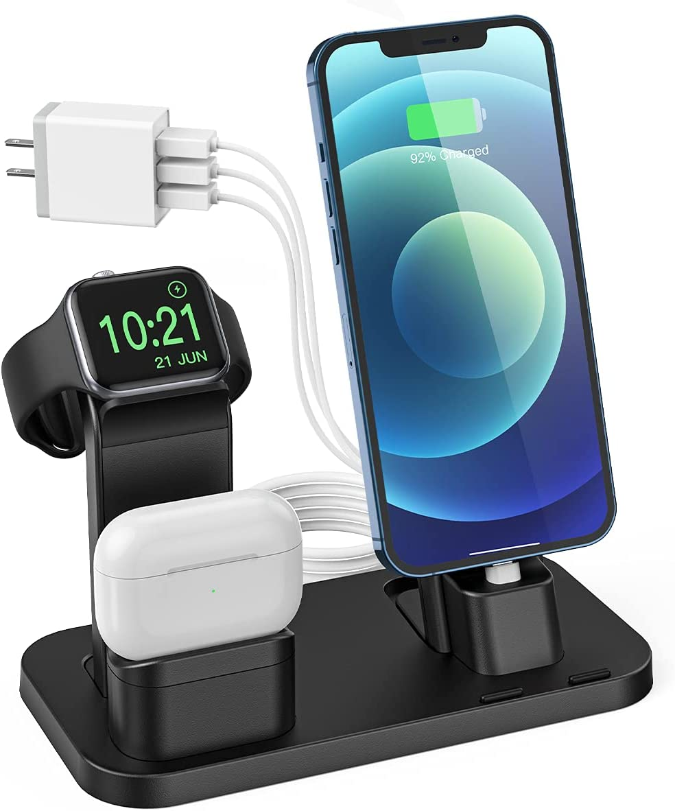 Charging Station for Apple Product, Conido 3 in 1 Charging Station for iPhone 12 mini/12 Pro Max/SE New/11 Pro Max, for AirPods/AirPods 2, for Apple Watch SE Series 6/5/4/3/2/1 Charger Black