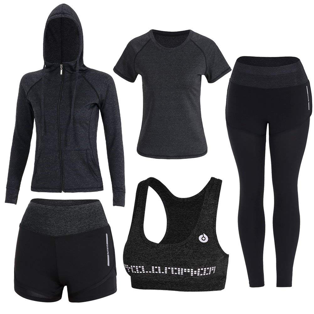 Black Onlyso Women's 5pcs Sport Suits Fitness Yoga Running Athletic Tracksuits