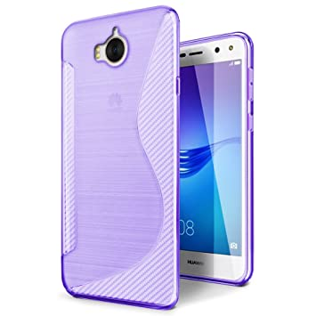SLEO Funda para Huawei Y6 2017 / Huawei Y5 2017 Slim Fit TPU Carcasa de Parachoques Case Traslúcido - Púrpura