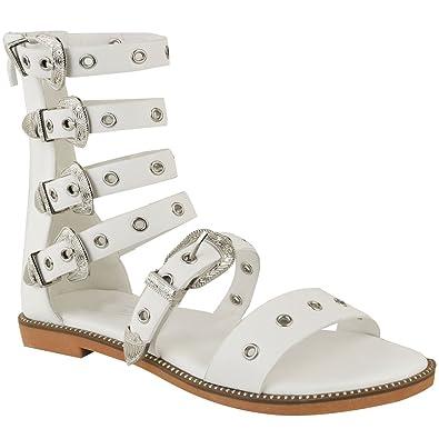 671f0c9877591 Fashion Thirsty Sandales Spartiates Plates - Brides Boucles - Gothique Punk  - Femme  Amazon.fr  Chaussures et Sacs