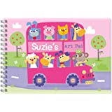 Children's Personalised Art/Drawing Pad A4 Bus Animals Pink