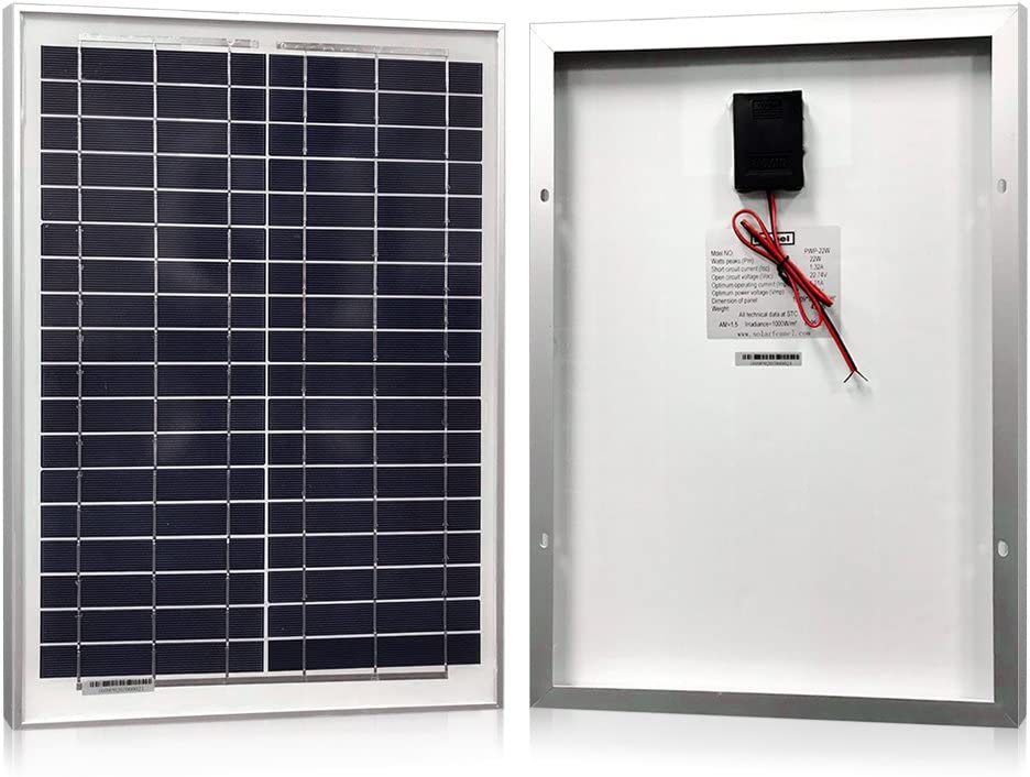 Powereco Solar Panel 20 Watt, Polycrystalline 20W Solar Charger for 12V Battery Charging