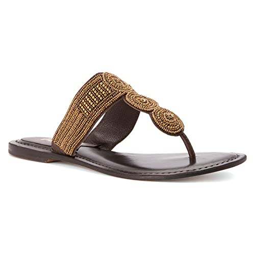 ab5f00fe89a Image Unavailable. Image not available for. Color  Mia Heritage Women  Borneo Bronze Thong Sandals ...