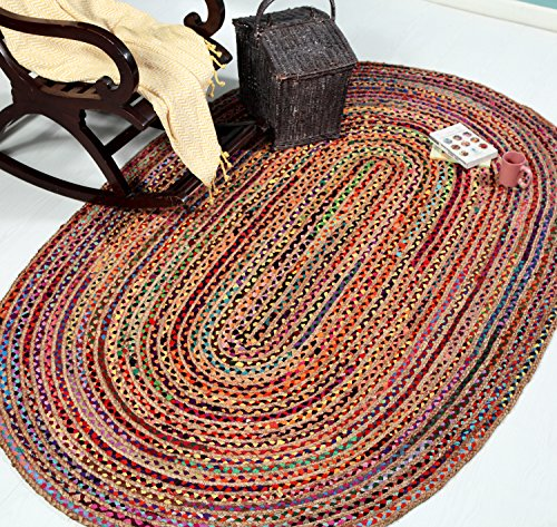 Hand Made - Braided Multicolor Chindi Rugs - Natural Jute & Cotton Rugs - 5' x 8' Oval Area Rugs - Boho Bohemian Area Rugs- Reversible Oval Area Rugs- Braided Chindi Cotton Jute Area Rugs By HILLFAIR - 8' Cotton Braided Rug