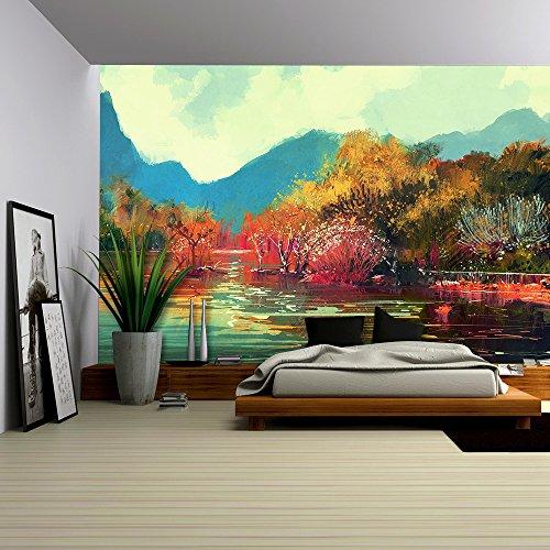 Illustration Painting of Beautiful Autumn Forest Illustration