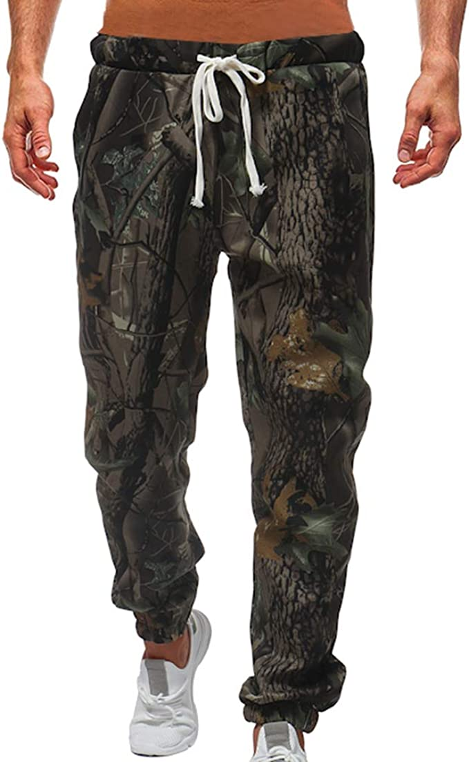Hombre Cintura Media Pantalones Largos - Moda Hojas Impresas ...