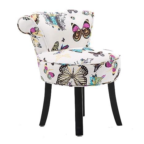 ZDY Shabby Chic Chair/Vanity Stool/Taburete Acolchado/Sillones y sillas/Baroque Piano Chair, Patas de Madera Maciza/tapizadas, para vestidor/Sala de ...
