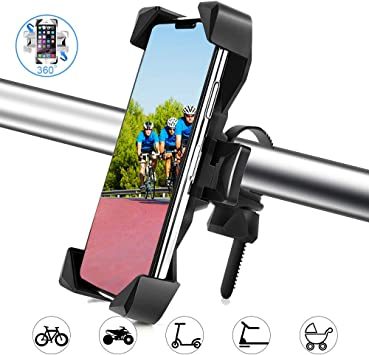 Bike Phone Mount Anti Shake and Stable Stainless Steel Clamp with 360/° Rotation Bicycle Motorcycle Phone Holder//Bike Accessories Compatible for iPhone Android GPS Other Devices Between 4 to 6.5 inches