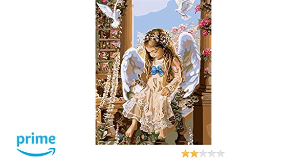 """Garden Angel Girl 16X20/"""" Painting Oil Paint By Number DIY Acrylic Canvas"""