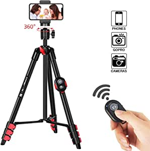 ZOMEI® Lightweight Tripod, 134cm Aluminum Travel Phone Tripod with Bluetooth Phone Holder Camera Tripod for DSLR Camera, Phone, GoPro, Traveling, Laser Measure and Laser Level