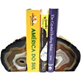 Natural Agate Bookend Pair - 3 to 6 lb - Geode Bookend with Rock Paradise Exclusive COA