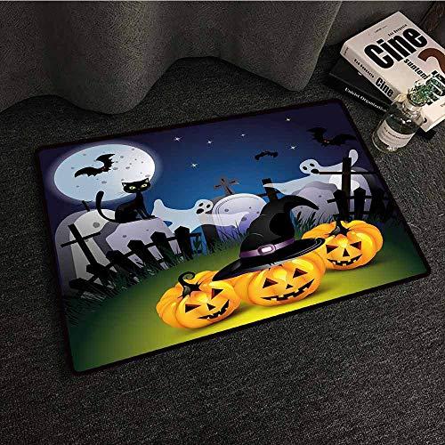 Mkedci Interior Door mat Halloween Funny Cartoon Design with Pumpkins Witches Hat Ghosts Graveyard Full Moon Cat Suitable for Outdoor and Indoor use W35 xL47 -