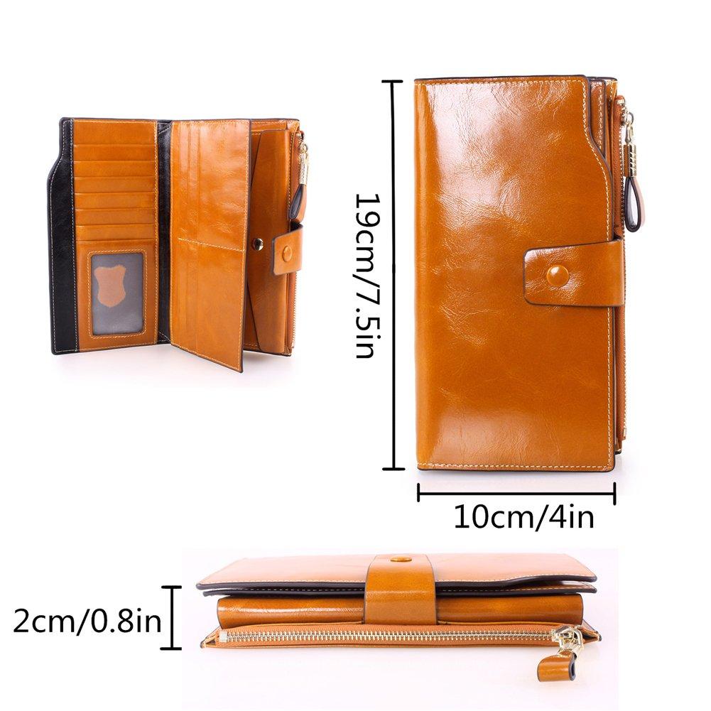 Kangming Women Leather Long Wallet Ladies Zipper Clutch Purse Credit Card Phone Holder (Brown)