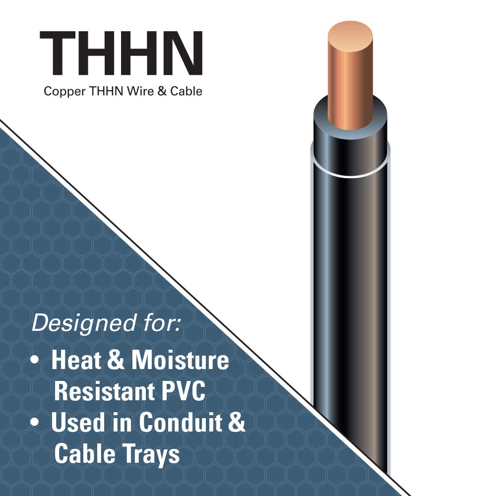 Southwire 11579041 50\' 14 Black Solid THHN Wire: Amazon.co.uk: DIY ...