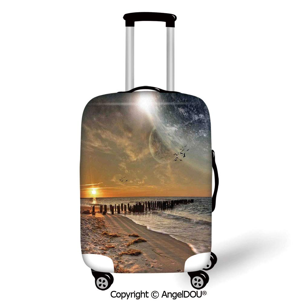 AngelDOU Printed Thicker Travel Suitcase Protective Cover Modern Math Geometry Inspired Minimalist Design with Brushstrokes Like Art Print Decorative Charcoal Grey White Luggage Case Travel Accessorie