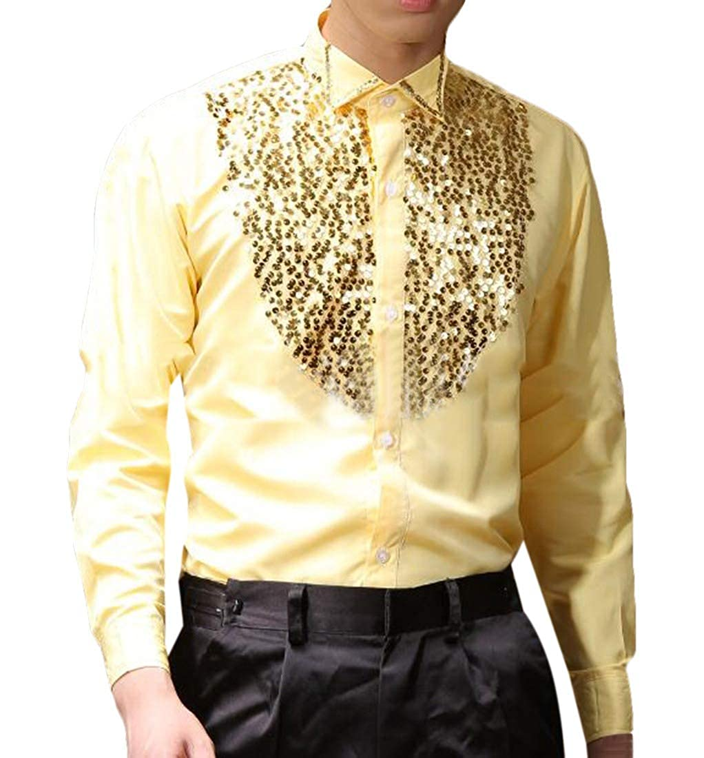 HEFASDM Mens Button Tops Cozy Sequin Glitter Stage Clothes Western Shirt