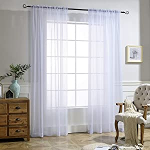 NICETOWN White Crinkle Sheer Curtain Panels Window Treatment Rod Pocket and Back Tab Crushed Voile Sheer Curtains for Patio/Villa/Parlor/Sliding Door (Set of 2, 52 Wide x 95 inch Long)