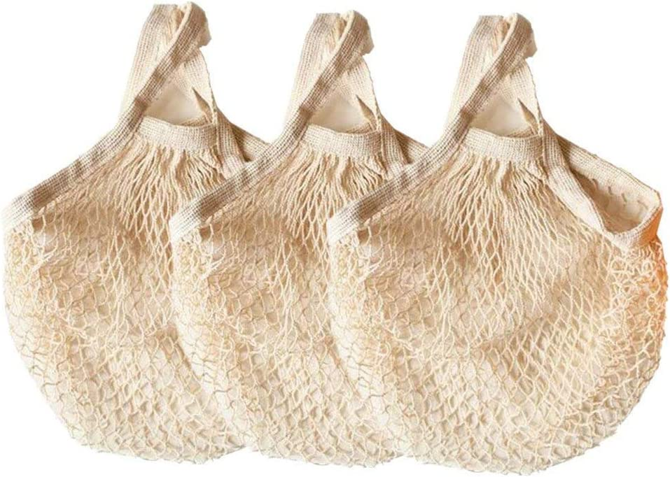 Ahyuan Ecology Reusable Cotton Mesh Grocery Bags Cotton String Bags Net Shopping Bags Mesh Bags Pack of 3 (Beige)