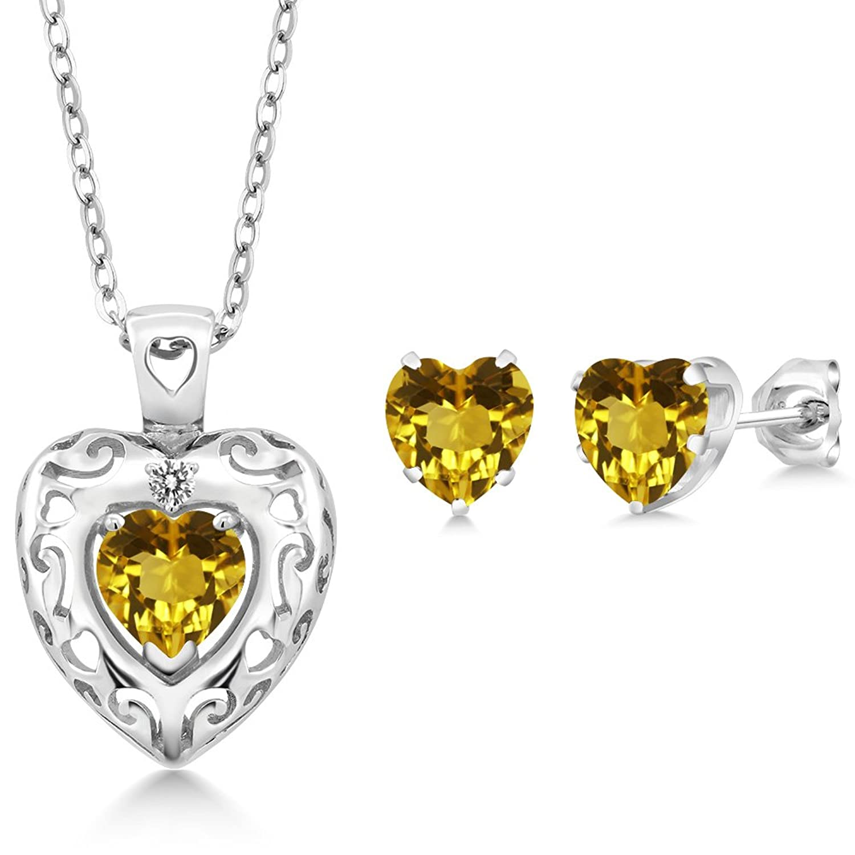 2.12 Ct Yellow Citrine White Diamond 925 Sterling Silver Pendant Earrings Set