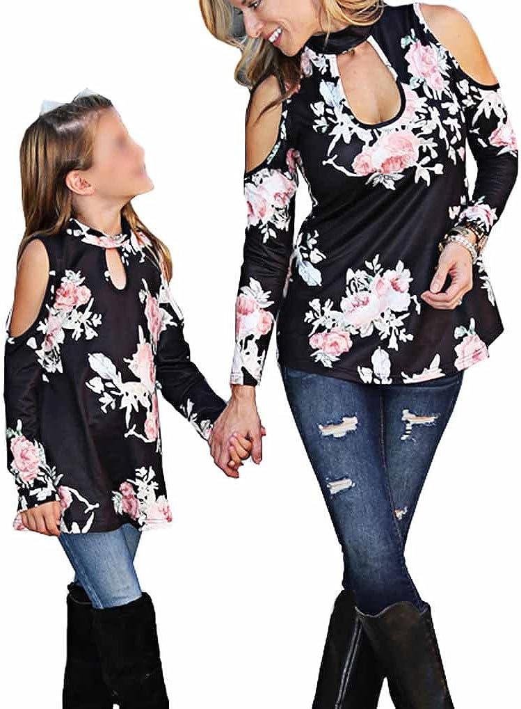 Mommy /& Me Floral Cold Off Shoulder Choker Long Sleeve Top Tshirt