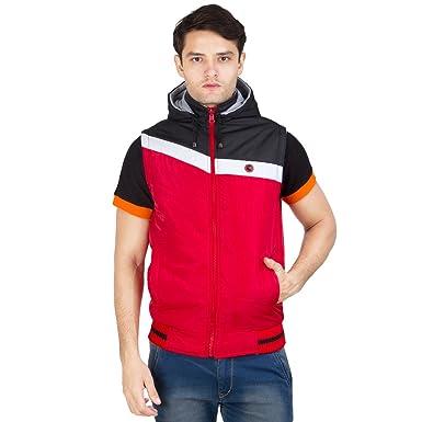 ec00cabf3e6de1 Burdy Sleeveless Hooded Regular Fit Polyester Blend Solid Reversible Jacket  for Men s   Boy s -44