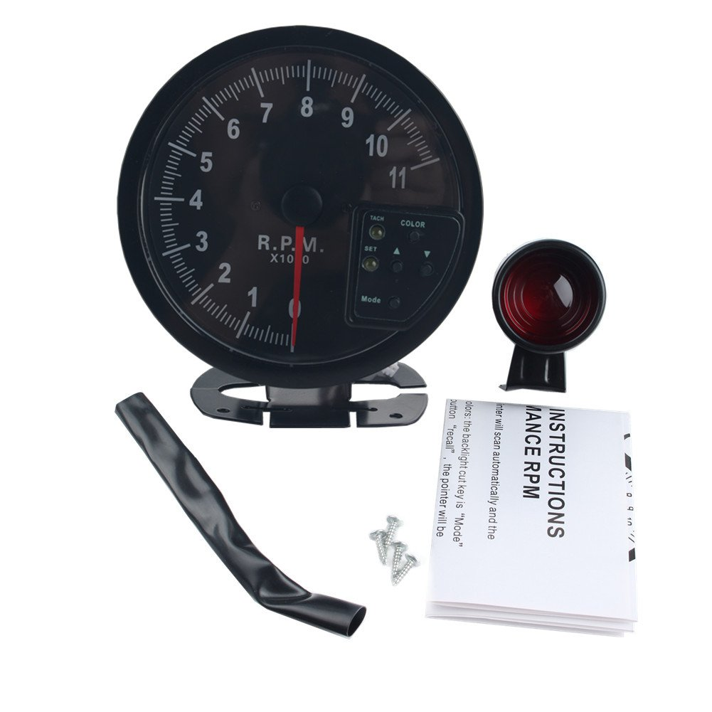 "Amazon.com: DEWHEL 5"" inch 7 Color LED 11K 12V Electronical RPM Tachometer  Rev Counter Gauge with Red Shift Light Black Face Auto JDM Universal 11000  Sport ..."