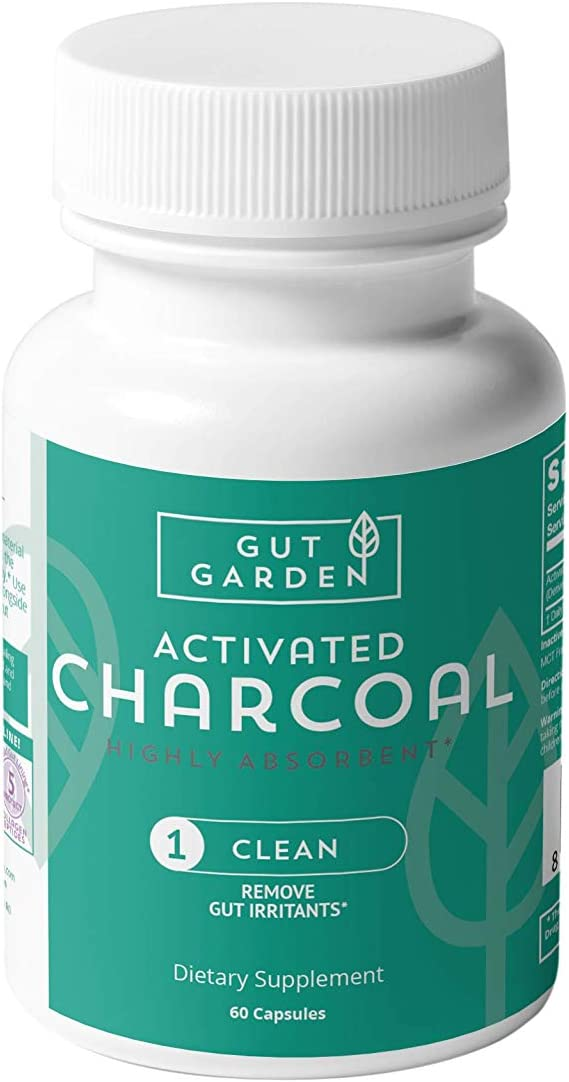 Gut Garden Activated Charcoal Capsules - Detox Supplement - Promotes Gut Health - Gas Relief - Bloating Relief - Derived from Organic Coconut Shells - 60 Highly Absorbent Capsules