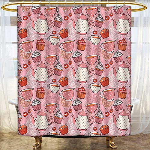 Cup Red Jumbo Cherry - Mikihome Shower Curtains Fabric Extra Long Teapots Cups with Polka Dots s Cherries Cakes Tea Coffee Pink Orange and Red Bathroom Accessories W48 x H72 inch
