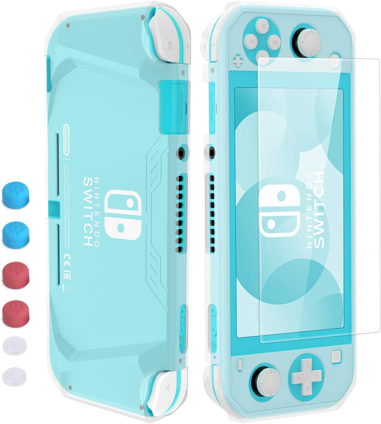 HEYSTOP Funda para Nintendo Switch Lite, Carcasa Switch Lite con Protector de Pantalla y 6 Agarres para el Pulgar, Cubierta Protectora de TPU para Switch Lite con Antiarañazos (Transparente): Amazon.es: Electrónica